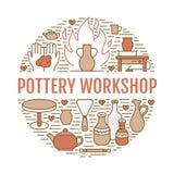 Il gruppo di lavoro delle terraglie, ceramica classifica l'illustrazione dell'insegna Linea icona di vettore di strumenti dello s royalty illustrazione gratis