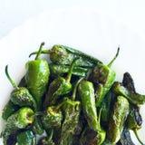 Il gruppo di Padron verde ha fritto i peperoni isolati Fotografia Stock