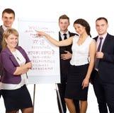 Il gruppo di persone di affari accoglie favorevolmente i clienti su fondo bianco Fotografia Stock Libera da Diritti