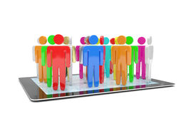 Il gruppo di persone dipende il PC della compressa Fotografie Stock Libere da Diritti