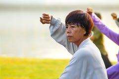 Il gruppo di persone pratica Tai Chi Chuan in un parco Fotografie Stock Libere da Diritti