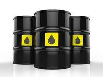Il gruppo di petrolio greggio barrels con l'etichetta gialla illustrazione di stock