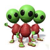 Il gruppo di piccolo personaggio dei cartoni animati straniero sveglio che guarda, ospiti forma l'illustrazione dello spazio cosm illustrazione vettoriale