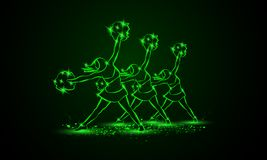 Il gruppo di ragazze pon pon balla con i poms del pom Fondo cheerleading al neon verde Immagini Stock