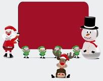 Il gruppo di Santa con la carta del segno Fotografie Stock Libere da Diritti