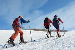 Il gruppo di sci-alpinisti scala la montagna sugli sci Fotografia Stock Libera da Diritti