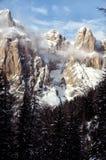 Il gruppo di Sella con neve nelle dolomia italiane Fotografie Stock