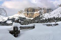 Il gruppo di Sella con neve nelle dolomia italiane Immagine Stock Libera da Diritti