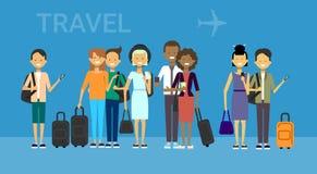 Il gruppo di turisti con le borse viaggia sugli uomini e sulle donne dei viaggiatori della corsa della miscela dell'aria sopra fo illustrazione di stock