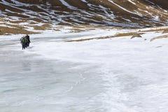 Il gruppo di viaggiatore con zaino e sacco a pelo sta camminando sul fiume congelato sul modo alla montagna sacra di Kailash, Tib Fotografia Stock Libera da Diritti