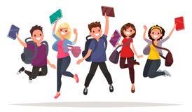 Il gruppo felice di studenti sta saltando su un fondo bianco acclamazione illustrazione di stock