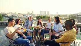 Il gruppo multirazziale di amici sta avendo partito dell'aria aperta che beve, parlante e ridente godendo dell'estate e di buona  archivi video