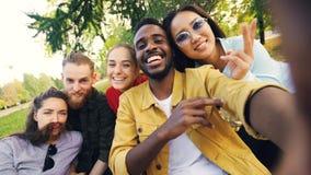 Il gruppo multirazziale di amici sta prendendo il selfie in parco che si siede sulla coperta, posante ed esaminante la macchina f fotografia stock