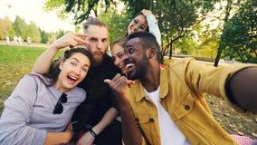 Il gruppo multirazziale di amici sta prendendo il selfie in parco che si siede sulla coperta, posante ed esaminante la macchina f immagine stock