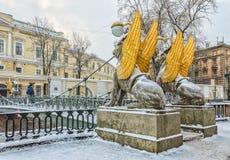 Il Gryphones del ponte della Banca di Bankovsky Fotografie Stock