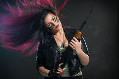 Il guerriero femminile dai capelli lunghi Fotografie Stock