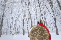 Il guerriero spartano sta rubando nella foresta dell'inverno Fotografia Stock