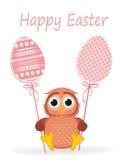 Il gufo tiene l'uovo decorato Pasqua su un bastone multicolored Vettore illustrazione vettoriale