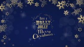 Il ` ha un ` allegro di Natale dell'agrifoglio con la fonte dorata Fotografia Stock Libera da Diritti