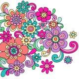 Il hennè psichedelico di Doodle fiorisce il vettore Immagine Stock