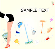 Il Housemaid pulisce la casa Fotografie Stock