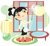 Il Housemaid scoperà via una polvere Immagine Stock Libera da Diritti