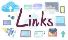 Il HTML del homepage di dominio collega il concetto globale del collegamento illustrazione vettoriale