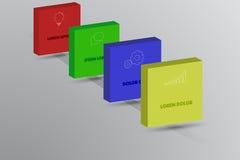 Il infographics di cronologia di quattro punti con 3D quadra, icone del profilo illustrazione di stock