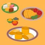 Il jalfrezi indiano del pollo con riso e la verdura strigliano il vettore sano dell'alimento di cucina del vario della spezia ris Fotografia Stock