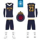 Il jersey di pallacanestro, shorts, colpisce con forza il modello per il club di pallacanestro Uniforme anteriore e posteriore di royalty illustrazione gratis