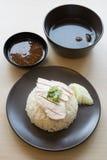 Il kai del mun di Khao, alimento tailandese ha cotto a vapore il pollo con riso immagini stock