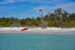 Il kajak solo riposa sulla spiaggia al parco della Costa di Cayo immagini stock libere da diritti