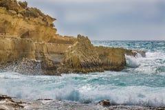 Il-Kalanka Bay, Malta. Rocky coast formed Il-Kalanka Bay. The island Malta Stock Photo