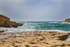 Il-Kalanka Bay, Malta. Rocky coast formed Il-Kalanka Bay. The island Malta Stock Image