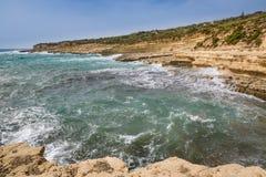 Il-Kalanka Bay, Malta. Rocky coast formed Il-Kalanka Bay. The island Malta Royalty Free Stock Images