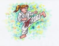 Il karatè scherza - dando dei calci alla ragazza il potere di Karatè-fa, 2017& x29; Fotografia Stock Libera da Diritti