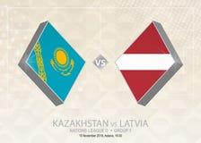 Il Kazakistan contro la Lettonia, lega D, gruppo 1 Competi di calcio di Europa illustrazione vettoriale