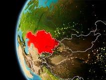 Il Kazakistan da spazio nella sera Fotografia Stock