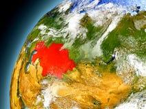 Il Kazakistan dall'orbita di Earth di modello Fotografia Stock Libera da Diritti