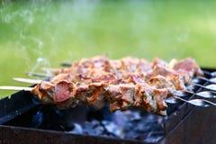Il kebab, carne ha arrostito, infilza la carne, barbecue, carne della griglia Fotografia Stock Libera da Diritti