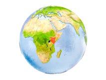 Il Kenya sul globo isolato Immagini Stock