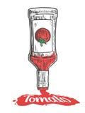 Il ketchup scorre da una bottiglia Illustrazione incisa annata di vettore Immagini Stock Libere da Diritti