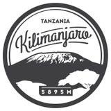 Il Kilimanjaro distintivo all'aperto di avventura in Africa, Tanzania Più alto vulcano sull'illustrazione della terra illustrazione vettoriale