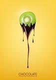 Il kiwi affettato ha immerso in cioccolato fondente di fusione, la frutta, il concetto di ricetta della fonduta, trasparente, ill Fotografia Stock