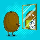 Il kiwi rade l'illustrazione di vettore di Pop art Fotografia Stock
