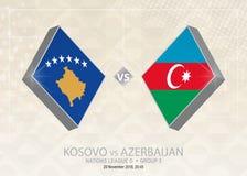 Il Kosovo contro l'Azerbaigian, lega D, gruppo 3 Competi di calcio di Europa royalty illustrazione gratis