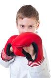 Il kwon da portare di tae del giovane ragazzo fa l'uniforme Fotografia Stock