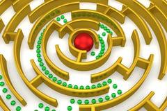 Il labirinto dell'oro con la riflessione. Fotografia Stock