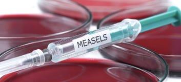 Il laboratorio della vaccinazione di Measels e petrischalen Fotografie Stock Libere da Diritti