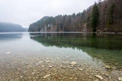 Il lago Alpsee su una mattina nebbiosa vicino al castl del Neuschwanstein Immagine Stock